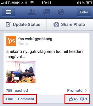 Facebook like és komment
