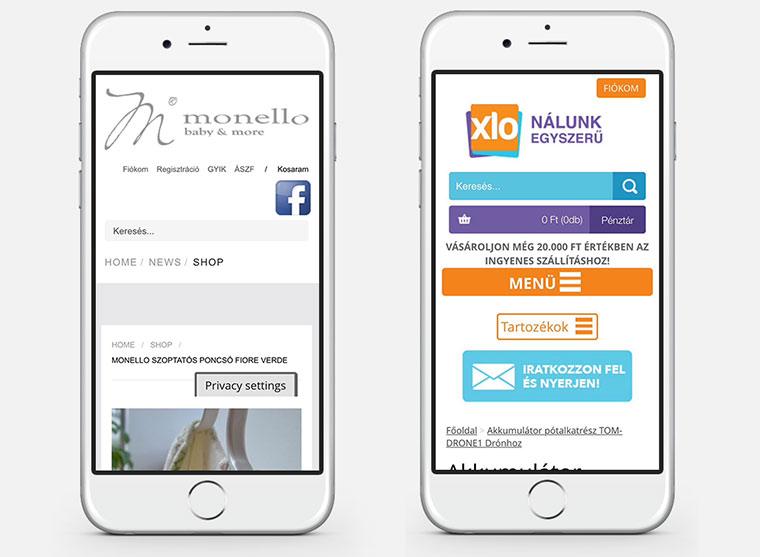 két webshop termékoldalának képe mobilon megnyitva, a tényleges tartalom nem látszódik első screenen