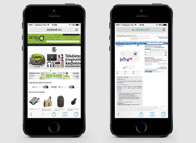 két wepshop képe mobilon megnyitva. sajnos használhatatlanok ebben a formában.
