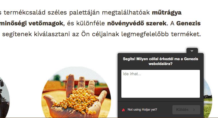 Website jobb sarkában felnyíló kis üzenet, mely megkéri a felhasználót, hogy írja be milyen céllal érkezett az oldalra