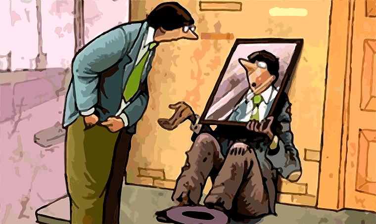 utcai hajléktalan, aki kéreget egy tükröt tart az arca elé, amibe belenéz az utca embere, így magát látja a hajléktalan helyében és máris nyúl a zsebébe pénzlrt